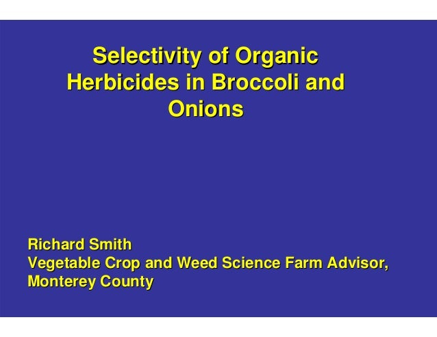 Selectivity of Organic Herbicides in Broccoli and Onions  Richard Smith Vegetable Crop and Weed Science Farm Advisor, Mont...