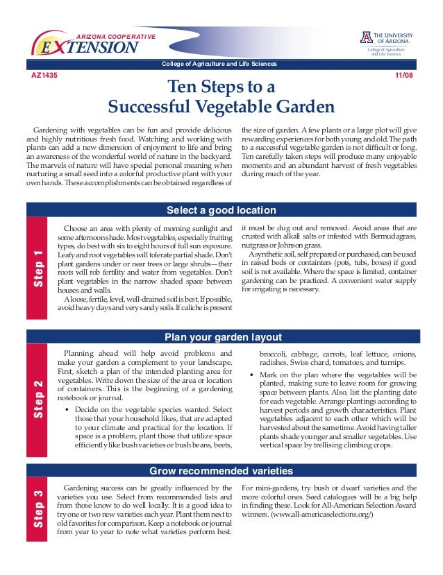 ARIZONA COOP E R AT I V E  E TENSION  College of Agriculture and Life Sciences  AZ1435  Ten Steps to a Successful Vegetabl...