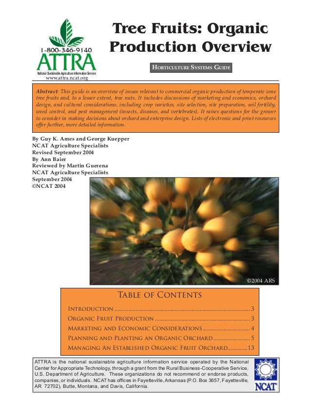 Tree Fruits: Organic Production Overview HORTICULTURE SYSTEMS GUIDE  National Sustainable Agriculture Information Service ...