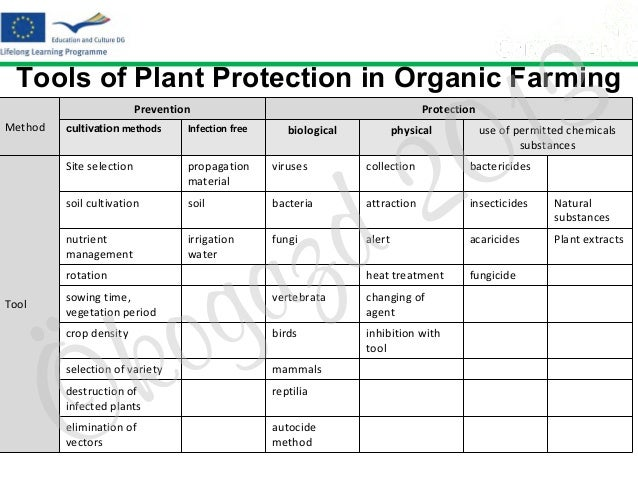 3 1 0  Tools of Plant Protection in Organic Farming  2 d  Prevention Method  Protection  cultivation methods  Infection fr...