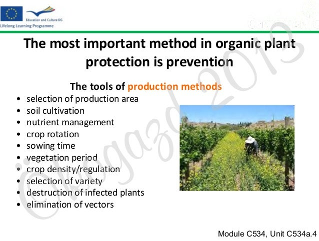 3 1 0  The most important method in organic plant protection is prevention  2 d  The tools of production methods • • • • •...