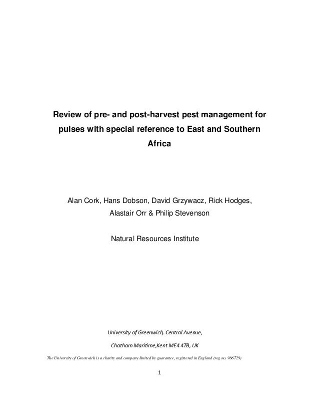 Review of pre- and post-harvest pest management for pulses with special reference to East and Southern Africa  Alan Cork, ...