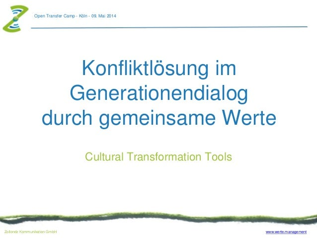 www.werte.managementZollondz Kommunikation GmbH Open Transfer Camp - Köln - 09. Mai 2014 Konfliktlösung im Generationendia...