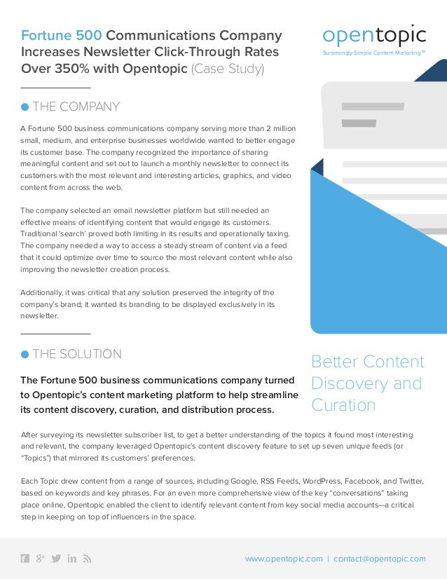 fortune 500 business communications content curation case study