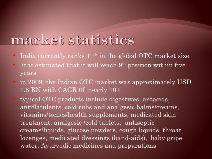 <ul><li>India currently ranks 11 th  in the global OTC market size </li></ul><ul><li>it is estimated that it will reach 9 ...