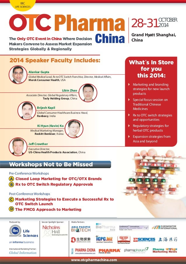 Otc Pharma China Conference Agenda, 28-31 Oct 2014, Shanghai