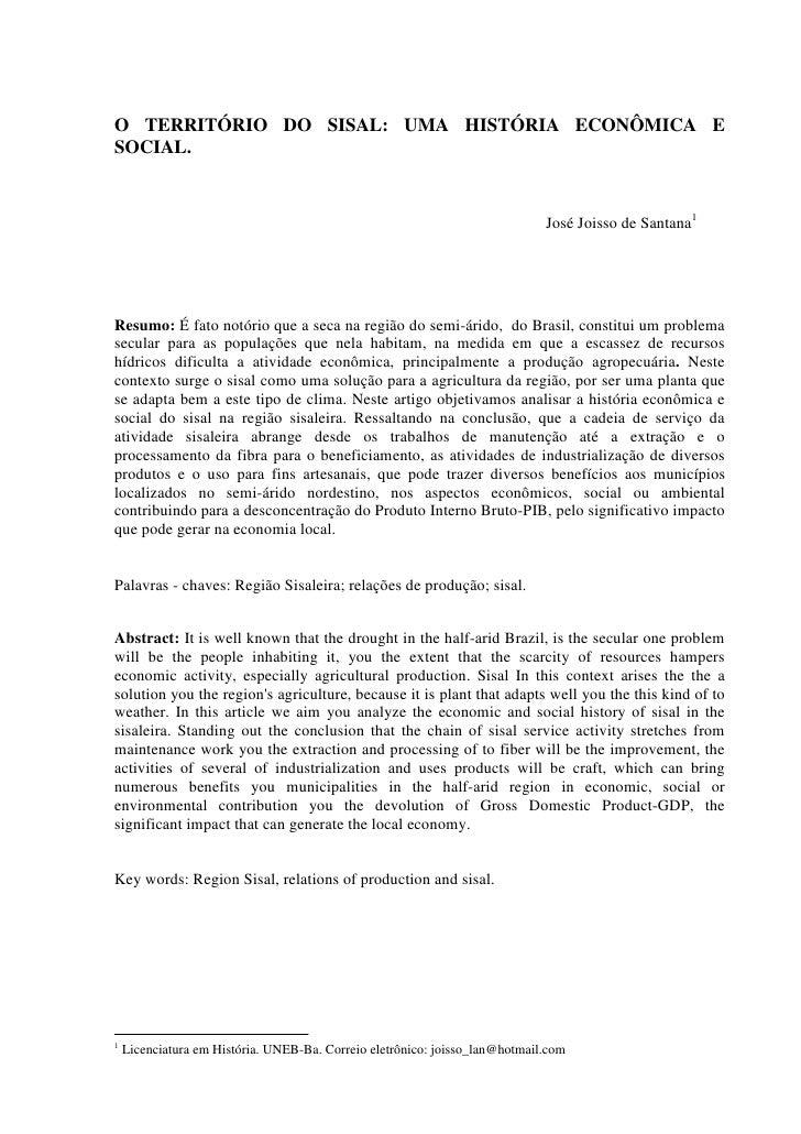 O TERRITÓRIO DO SISAL: UMA HISTÓRIA ECONÔMICA ESOCIAL.                                                                    ...