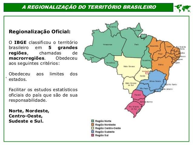 ' A REGIONALIZAÇÃO DO TERRITÓRIO BRASILEIRO  Regionalização Oficial: O IBGE classificou o território brasileiro em 5 gran...