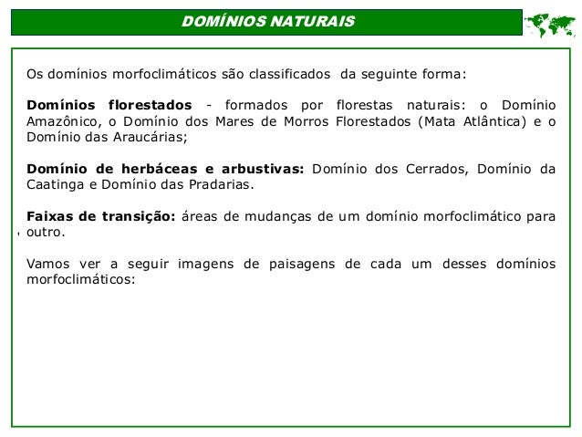' DOMÍNIOS NATURAIS  Os domínios morfoclimáticos são classificados da seguinte forma: Domínios florestados - formados por...