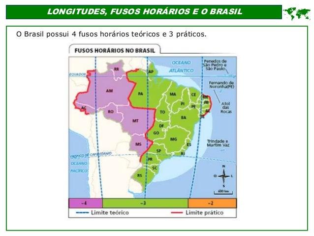 LONGITUDES, FUSOS HORÁRIOS E O BRASIL O Brasil possui 4 fusos horários teóricos e 3 práticos. 