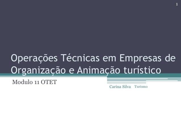 Operações Técnicas em Empresas de Organização e Animação turístico Modulo 11 OTET 1 Carina Silva Turismo