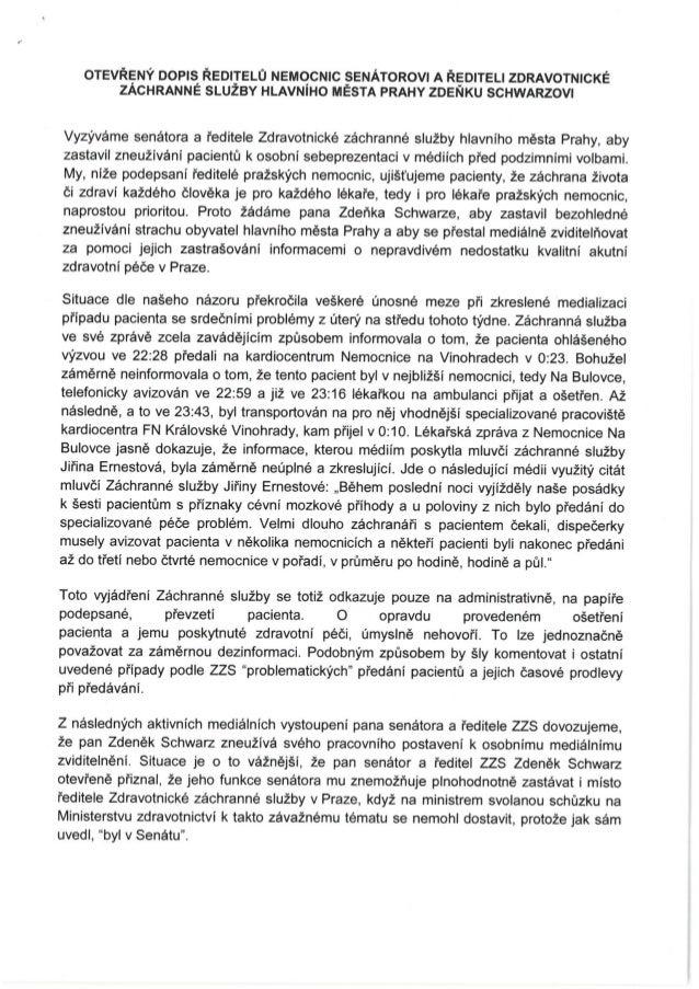 Otevřený dopis ředitelů pražských nemocnic