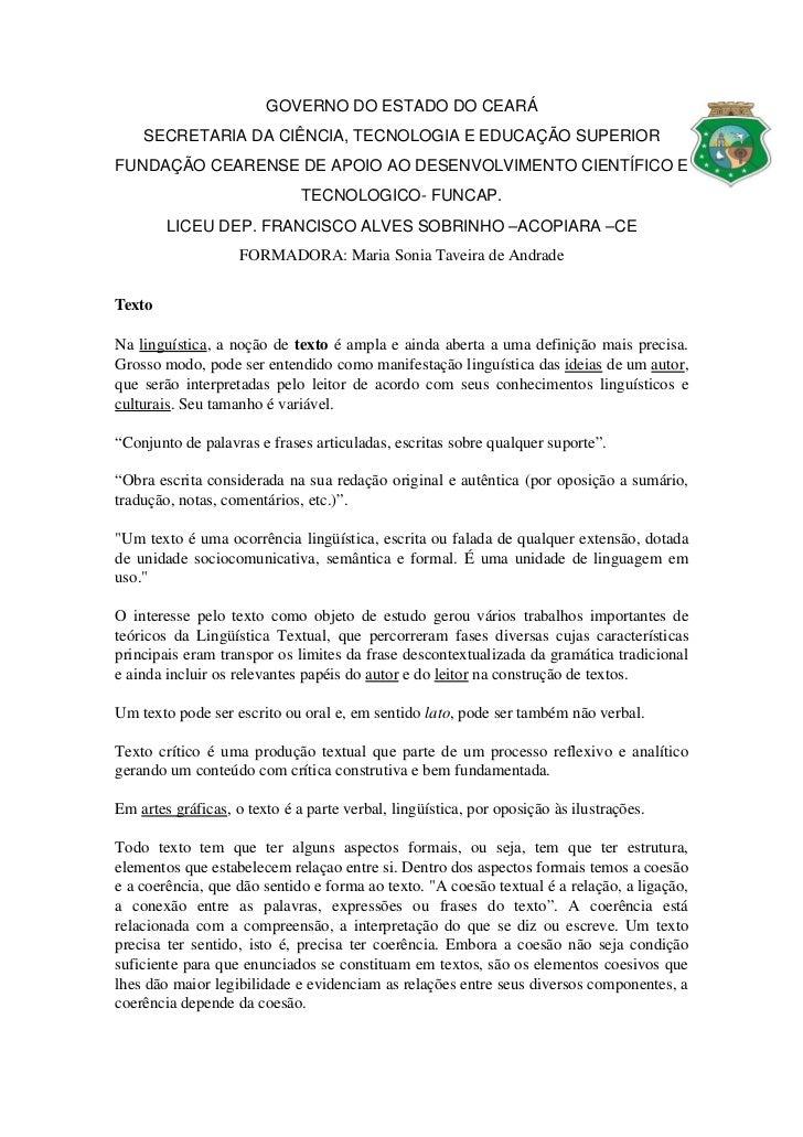 GOVERNODOESTADODOCEARÁ     SECRETARIADACIÊNCIA,TECNOLOGIAEEDUCAÇÃOSUPERIORFUNDAÇÃOCEARENSEDEAPOIOAODESENVOL...