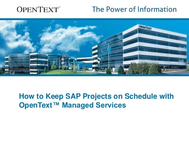 How to Keep SAP Projects on Schedule with  OpenText™ Managed Services