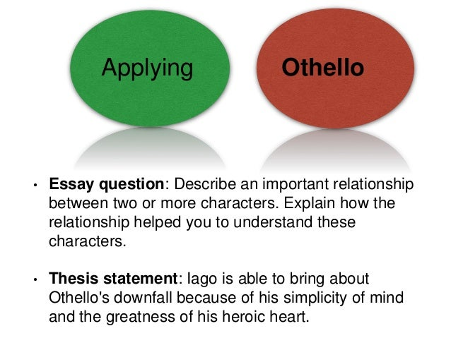 shakespeare s othello essay help 5 applying othello • essay question