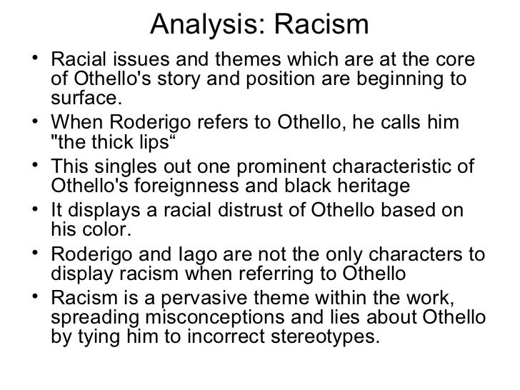 How racism is shown in othello - Term paper Sample