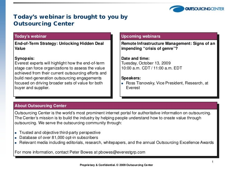 Today's webinar is brought to you byOutsourcing CenterToday's webinar                                                  Upc...