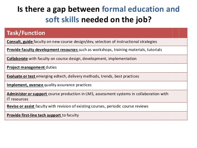Is there a gap between formal education and  soft skills needed on the job?  Task/Function  Consult, guide faculty on new ...