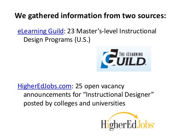 We gathered information from two sources:  eLearning Guild: 23 Master's-level Instructional  Design Programs (U.S.)  Highe...