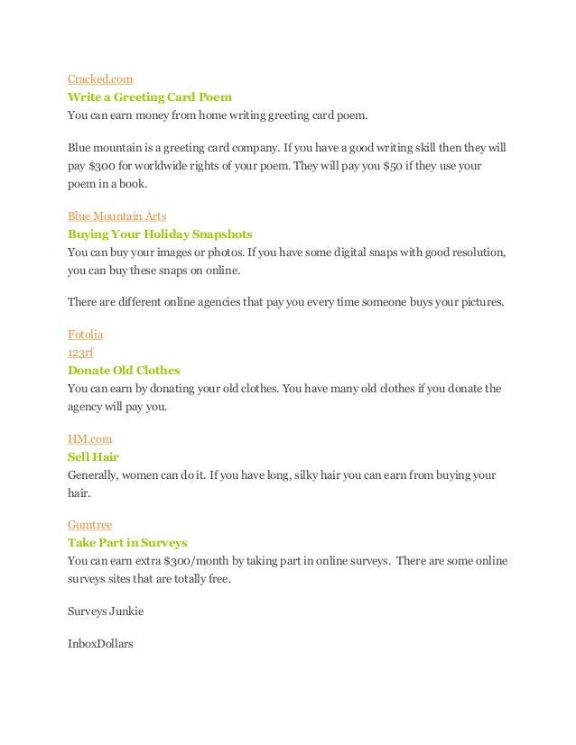 Unknown ways to make money online 3 cracked write a greeting card poem m4hsunfo