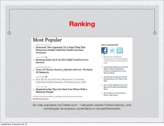 """RankingOs mais populares na Forbes.com - """"calculado usando Forbes Velocity, umacombinação de acessos, comentários e compar..."""