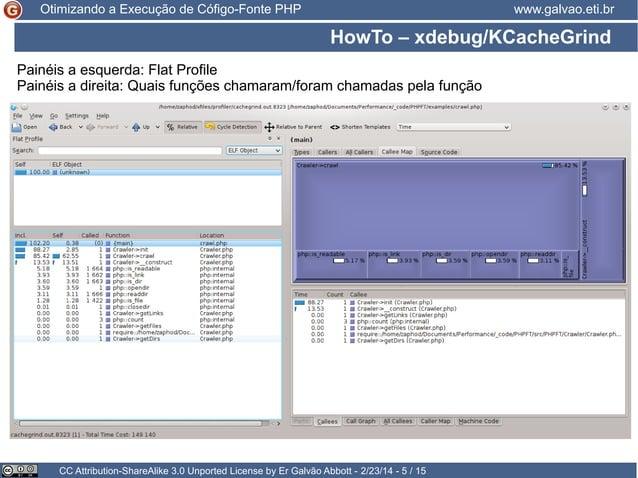 Otimizando a Execução de Cófigo-Fonte PHP  www.galvao.eti.br  HowTo – xdebug/KCacheGrind Painéis a esquerda: Flat Profile ...