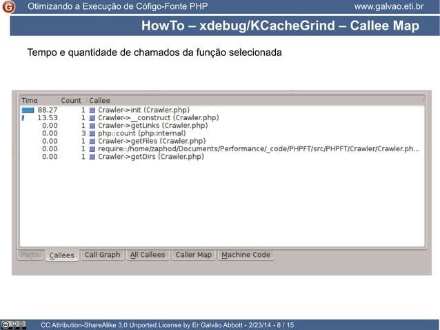 Otimizando a Execução de Cófigo-Fonte PHP  www.galvao.eti.br  HowTo – xdebug/KCacheGrind – Callee Map Tempo e quantidade d...