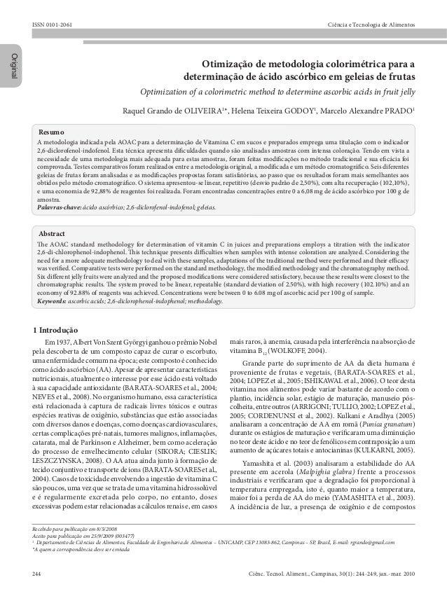 ISSN 0101-2061 Ciência e Tecnologia de Alimentos Original Recebido para publicação em 8/5/2008 Aceito para publicação em 2...