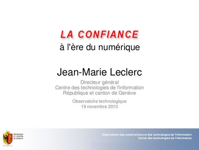 Département des constructions et des technologies de l'information Centre des technologies de l'information 12.11.2010 - P...