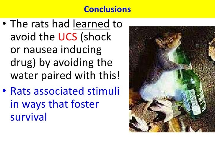 Conclusions• The rats had learned to  avoid the UCS (shock  or nausea inducing  drug) by avoiding the  water paired with t...