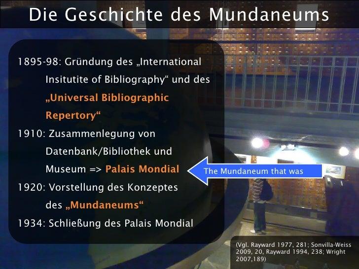 """Die Geschichte des Mundaneums  1895-98: Gründung des """"International      Insitutite of Bibliography"""" und des      """"Univers..."""
