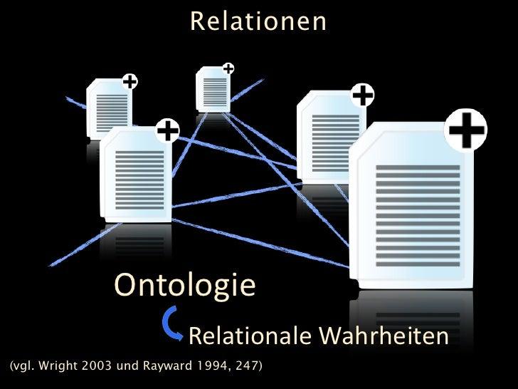 Relationen                     Ontologie                             Relationale Wahrheiten (vgl. Wright 2003 und Rayward ...