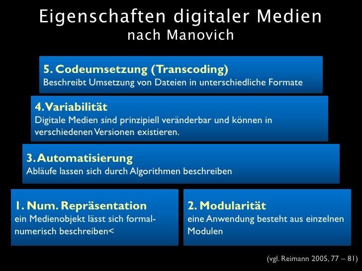Eigenschaften digitaler Medien                            nach Manovich         5. Codeumsetzung (Transcoding)        Besc...