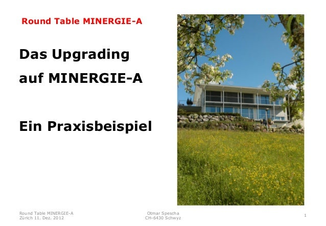Round Table MINERGIE-ADas Upgradingauf MINERGIE-AEin PraxisbeispielRound Table MINERGIE-A    Otmar Spescha                ...