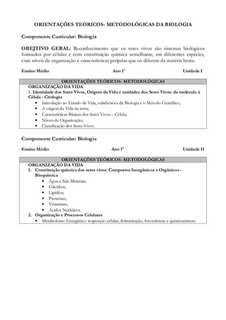 ORIENTAÇÕES TEÓRICOS- METODOLÓGICAS DA BIOLOGIAComponente Curricular: BiologiaOBEJTIVO GERAL: Reconhecimento que os seres ...
