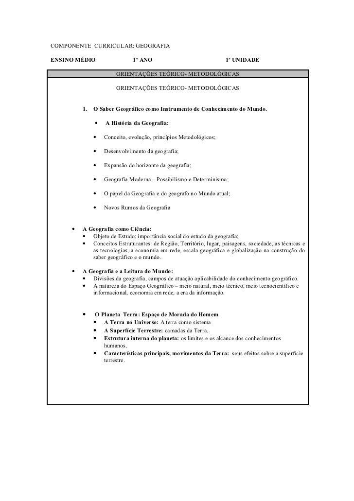 COMPONENTE CURRICULAR: GEOGRAFIAENSINO MÉDIO                 1º ANO                                 1ª UNIDADE            ...