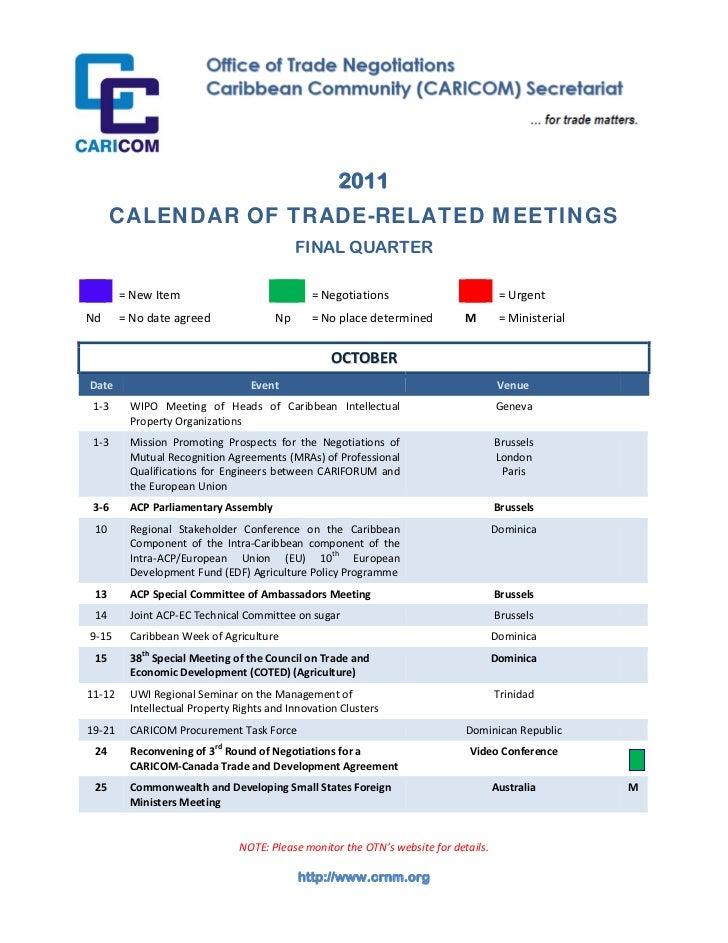 2011       CALENDAR OF TRADE-RELATED MEETINGS                  ...