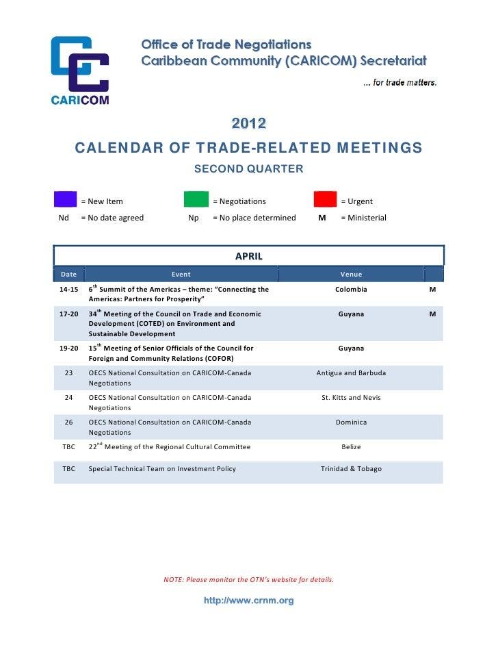 2012          CALENDAR OF TRADE-RELATED MEETINGS               ...