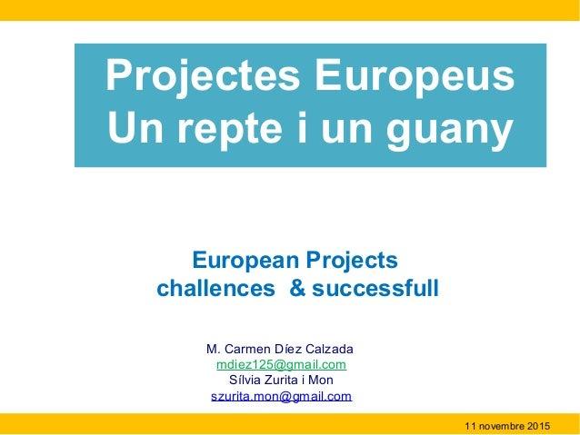 European Projects challences & successfull M. Carmen Díez Calzada mdiez125@gmail.com Sílvia Zurita i Mon szurita.mon@gmail...
