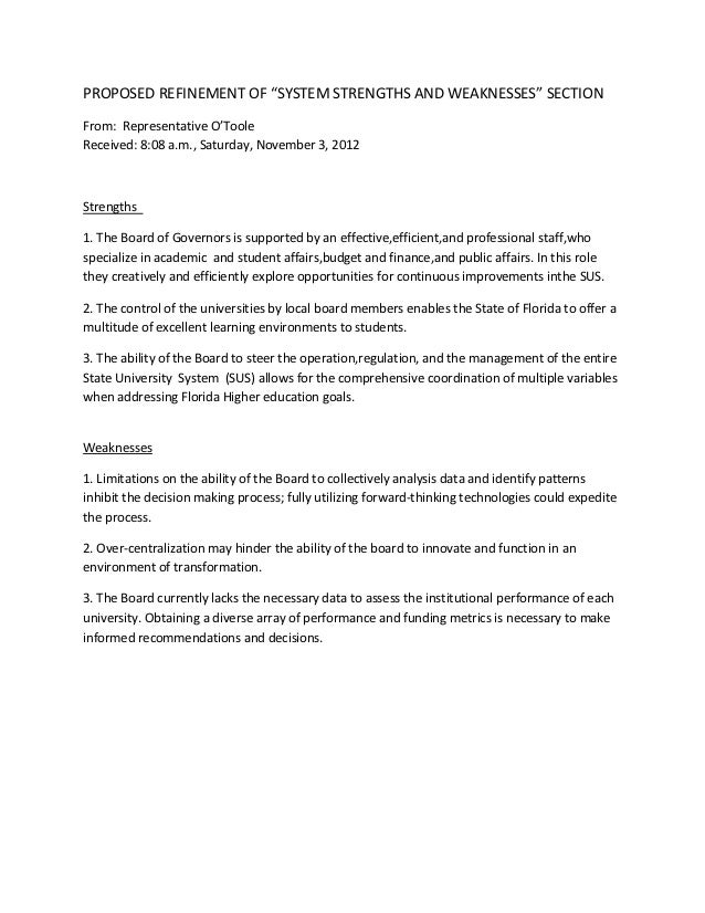 """PROPOSED REFINEMENT OF """"SYSTEM STRENGTHS AND WEAKNESSES"""" SECTIONFrom: Representative O'TooleReceived: 8:08 a.m., Saturday,..."""