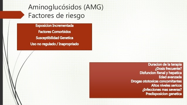 Aminoglucósidos (AMG) Factores de riesgo Exposicion Incrementada Factores Comorbidos Susceptibilidad Genetica Uso no regul...