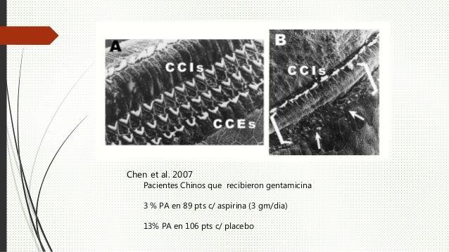 Chen et al. 2007 Pacientes Chinos que recibieron gentamicina 3 % PA en 89 pts c/ aspirina (3 gm/dia) 13% PA en 106 pts c/ ...