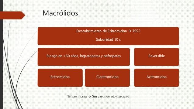 Macrólidos Descubrimiento de Eritromicina  1952 Subunidad 50 s Riesgo en >60 años, hepatopatas y nefropatas Eritromicina ...