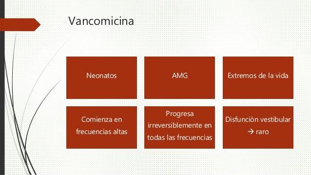 Vancomicina Neonatos AMG Extremos de la vida Comienza en frecuencias altas Progresa irreversiblemente en todas las frecuen...