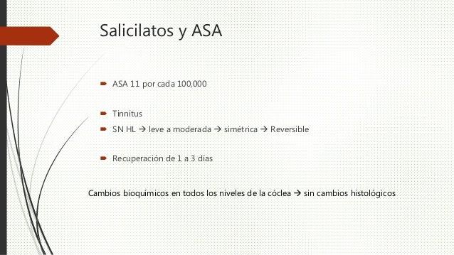 Salicilatos y ASA  ASA 11 por cada 100,000  Tinnitus  SN HL  leve a moderada  simétrica  Reversible  Recuperación d...