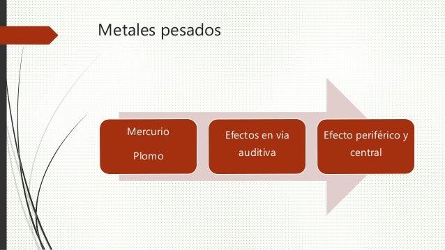 Metales pesados Mercurio Plomo Efectos en vía auditiva Efecto periférico y central