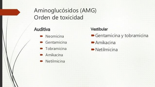 Aminoglucósidos (AMG) Orden de toxicidad Auditiva  Neomicina  Gentamicina  Tobramicina  Amikacina  Netilmicina Vestib...