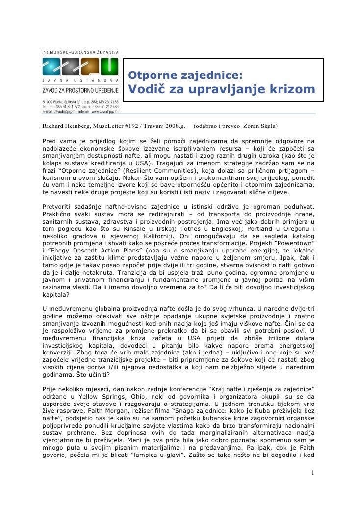 Otporne zajednice:                              Vodič za upravljanje krizomRichard Heinberg, MuseLetter #192 / Travanj 200...