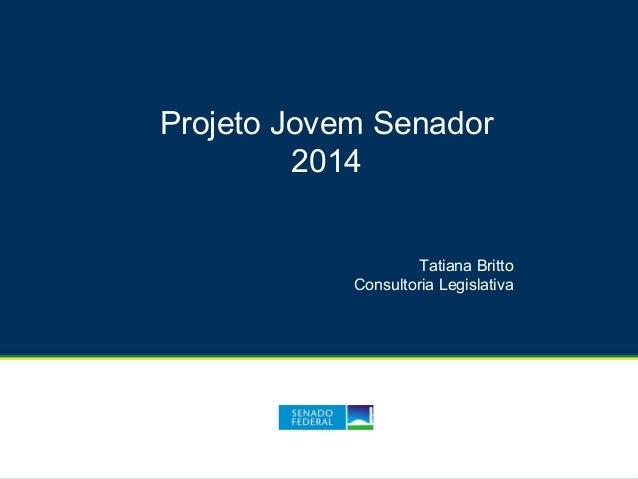 Projeto Jovem Senador 2014 Tatiana Britto Consultoria Legislativa