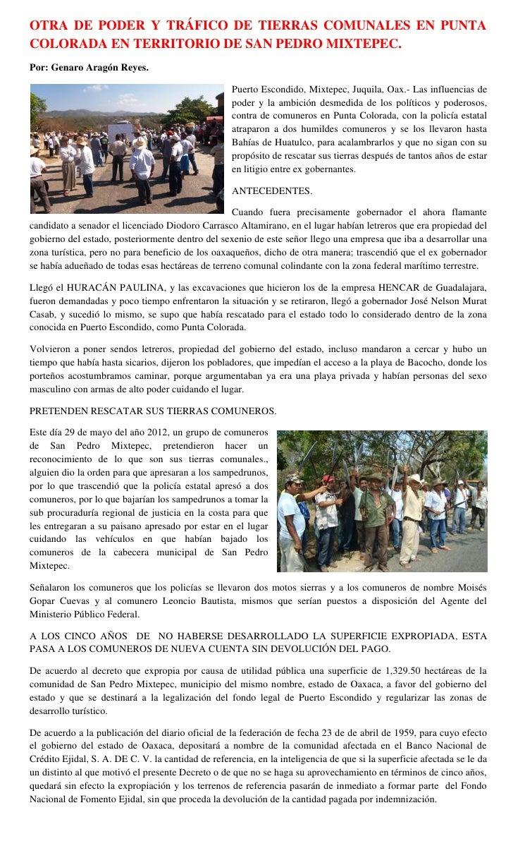 OTRA DE PODER Y TRÁFICO DE TIERRAS COMUNALES EN PUNTACOLORADA EN TERRITORIO DE SAN PEDRO MIXTEPEC.Por: Genaro Aragón Reyes...